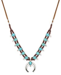 Macy's Silver Tone Turquoise Look Faux Suede Beaded Horn Pendant Necklace