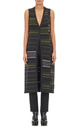 Maison Martin Margiela Women's Variegated Stripe Wool Blend Long Vest Dark Grey Green Black Dark Grey Green Black