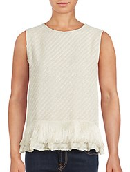Max Studio Fringed Hem Sleeveless Top Natural