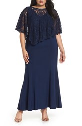Decode 1.8 Plus Size Women's Lace Poncho Dress Navy