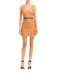 Nicole Miller Veroniqe Floral Embroidered Tulle Dress Coral