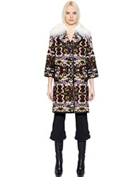Andrew Gn Leather Trim Fur Jacquard Coat