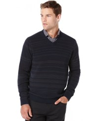 Perry Ellis Big And Tall Striped V Neck Sweater