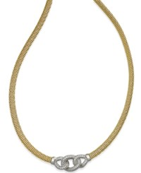 Macy's Diamond Infinity Mesh Necklace 1 3 Ct. T.W. In 14K Gold Over Sterling Silver