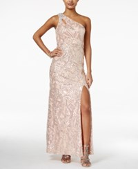 As U Wish Juniors' One Shoulder Sequined Gown Blush Silver