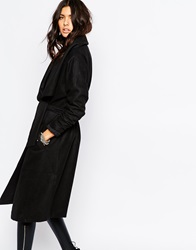 Noisy May Penny Wool Mix Trench Coat Black