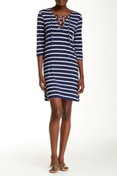 Christian Siriano New York Meghan Lace Up Nautical Stripe Short Dress Blue