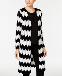 Ny Collection Chevron Open Front Duster Cardigan Black White