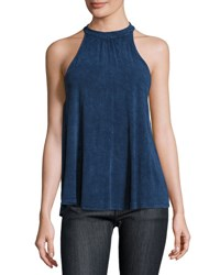 Moon River Halter Neck Back Tie Top Teal