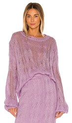 Kendall Kylie Ripped Sweater In Lavender. Lilac