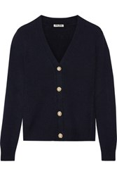 Miu Miu Cropped Embellished Cashmere Cardigan Midnight Blue
