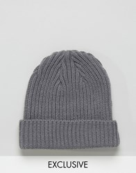 Reclaimed Vintage Mini Fisherman Beanie In Grey Grey