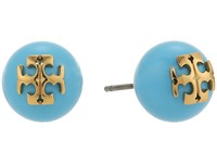 Tory Burch Crystal Pearl Stud Earrings Turquoise Shiny Gold