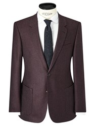 John Lewis And Co. Ashwell Wool Flannel Tailored Suit Jacket Mulberry