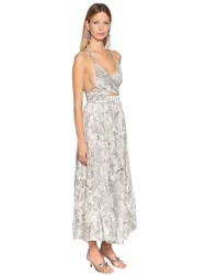 Etro Printed Silk Double Georgette Dress White Silver