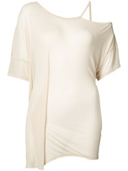 Ann Demeulemeester One Shoilder Draped T Shirt Women Rayon 40 Nude Neutrals