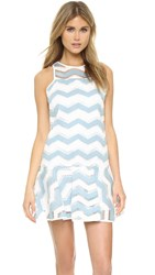 Milly Chevron Illusion Jacquard Jillian Dress Slate White