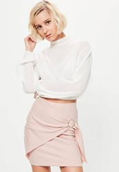Missguided Pink Wrap Front Circle Ring Detail Mini Skirt