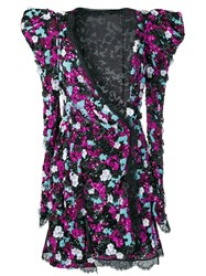 Amen Floral Enhanced Shoulder Dress Black