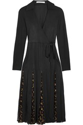 Diane Von Furstenberg Stevie Printed Fil Coupe And Tulle Paneled Silk Blend Wrap Dress Black