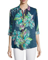Johnny Was Kay Long Sleeve Button Front Printed Blouse Women's