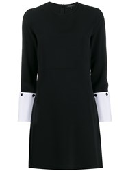 Antonelli Contrast Cuffs Midi Dress Black