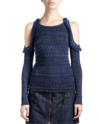Kenzo Metallic Cold Shoulder Ruffle Trim Stretch Top Dark Blue