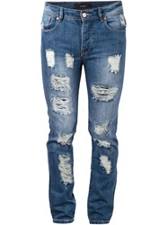 Stampd Distressed Skinny Jeans Blue
