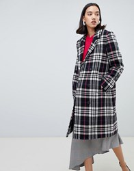 Selected Femme Wool Check Coat Black White Check Multi