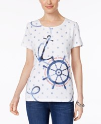 Karen Scott Nautical Print Cotton T Shirt Only At Macy's Bright White