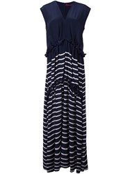 Sies Marjan Striped Silk Dress Blue