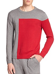 Saks Fifth Avenue Modern Fit Colorblock Crewneck Sweater Grey Red