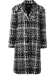 Dolce And Gabbana Boucle Midi Coat Grey