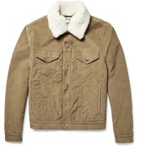Acne Studios Beat Faux Shearling Trimmed Padded Stretch Corduroy Jacket Tan