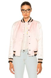 Coach 1941 Reversible Varsity Jacket In Floral Pink Stripes White Floral Pink Stripes White