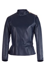 Sonia Rykiel Lambskin Leather Peplum Jacket Blue