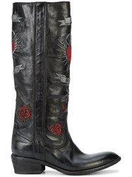 Fauzian Jeunesse Embroidered Knee High Boots Leather Rubber 39.5 Black
