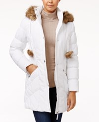 American Rag Faux Fur Trim Puffer Coat Only At Macy's White