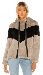 Adrienne Landau Knit Rabbit Fur Hoodie In Gray. Grey