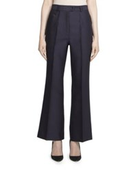Nina Ricci Wool Blend Cropped Pants Purple