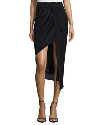 Haute Hippie Asymmetric Skirt W Tuxedo Stripe Black Black Black