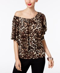 Thalia Sodi Animal Print Convertible Top Only At Macy's Taupe Combo