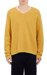 Marni Men's Rib Knit V Neck Sweater Yellow