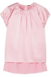 Adam By Adam Lippes Gathered Silk Charmeuse Top Pink