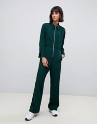 Asos White Zip Front Jumpsuit Green