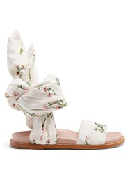 Marques Almeida Floral Embroidered Wrap Sandals White Multi