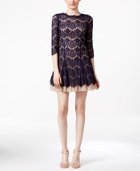 Betsy And Adam Open Back Lace Cocktail Dress Navy Nude