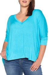 Slink Jeans Plus Size Women's V Neck Tee Turquoise