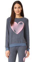 Wildfox Couture Faded Love Baggy Beach Sweatshirt After Midnight Blue