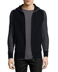 Helmut Lang Zip Front Hooded Cashmere Sweater Black